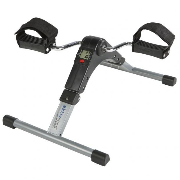 Der faltbare Mini-Heimtrainer mit Pedalschlaufen eignet sich hervorragend sowohl für das Arm- als auch Beintraining.