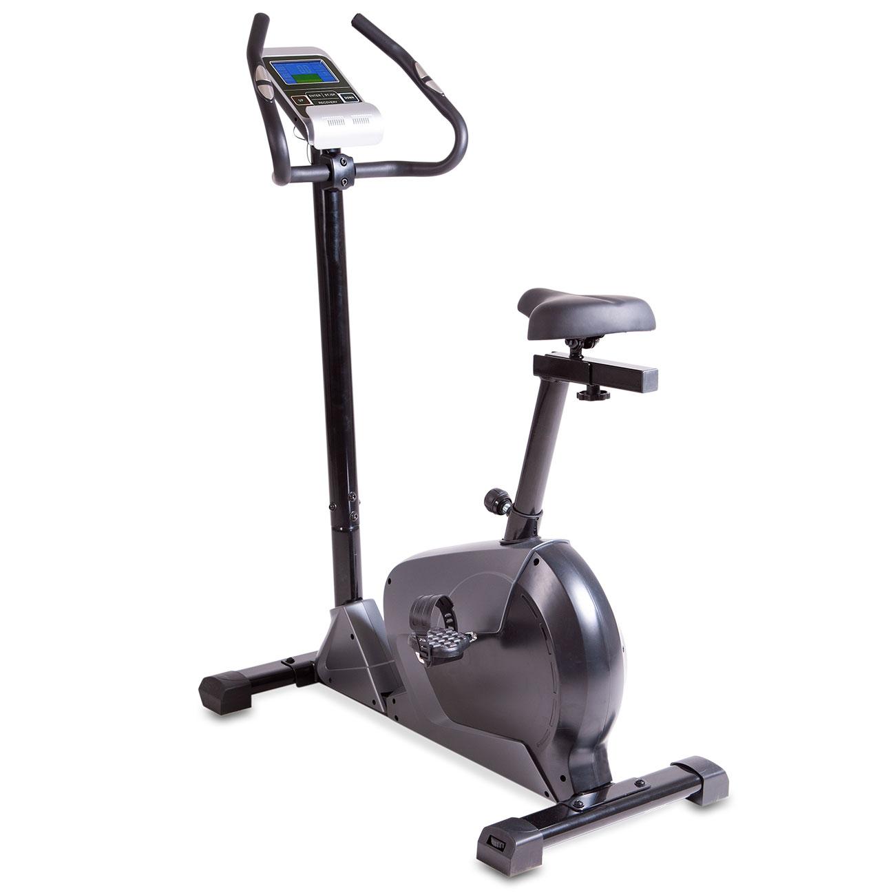 Das Fitness-Ergometer bietet Ihnen einen leichten Einstieg, einen multiverstellbaren Sattel, einen neigungsverstellbaren Lenker mit Sensoren zur Handpulsmessung und rutschsichere Pedalen mit Fußschlaufen.
