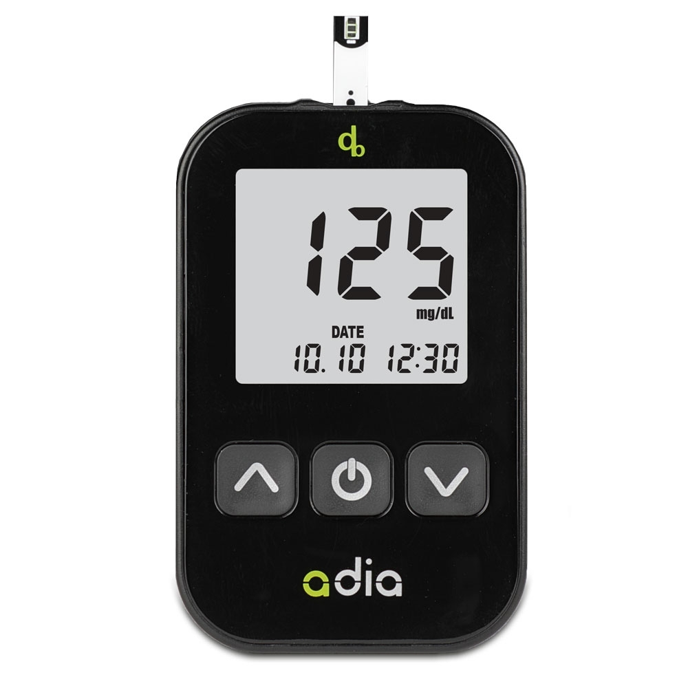 adia Blutzuckermessgerät - Starter Set inkl. 60 Blutzuckerteststreifen