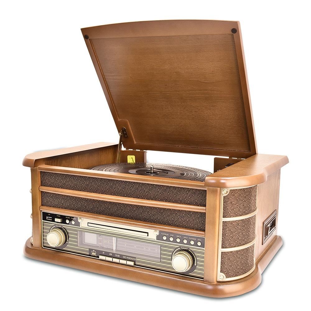 Die nostalgische Stereoanlage »Dora« ist Platten- und Kassettenspieler, CD-Player und Radio in einem.